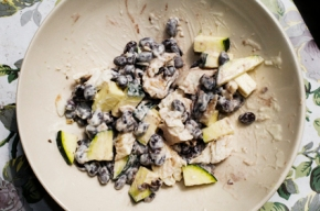 Steamed Tilapia and black bean salad.