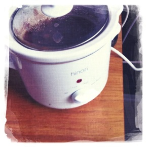 ZZZ Crock Pot the petite size. Fits perfectly next to the meat slicer.